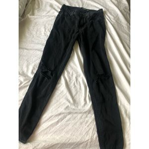 Black High Rise Knee Ripped Hollister Jeans